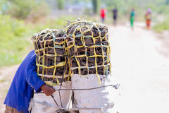 Man carrying charcoal for family meal royalty free stock photography
