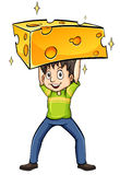 Man carrying a cheese Royalty Free Stock Images