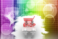 Man carrying 3d Shopping symbol Illustration Royalty Free Stock Images