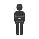 Man carrying delivery box figure pictogram. Illustration eps 10 Stock Photos