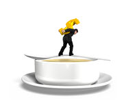 Man carrying dollar sign balancing on spoon with soup bowl Stock Photography
