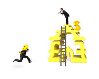 Man carrying Euro for money stacking building with leader shouti Royalty Free Stock Photography