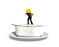 Man carrying Euro sign balancing on spoon with soup bowl Stock Photography