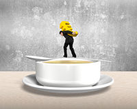 Man carrying Euro sign balancing on spoon with soup bowl Royalty Free Stock Photo