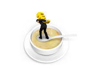 Man carrying Euro sign balancing on spoon in the soup Royalty Free Stock Images