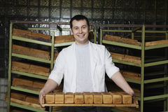 Man Carrying Freshly Baked Breads In Bakery Stock Images