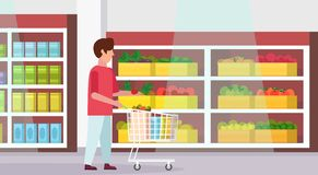 Man carrying full trolley cart of food purchases big grocery shop supermarket interior male customer super market. Shopping concept full length flat horizontal stock illustration