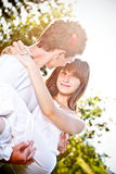 Man carrying girlfriend in his arms Royalty Free Stock Photos
