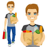 Man Carrying Grocery Bag Royalty Free Stock Photo