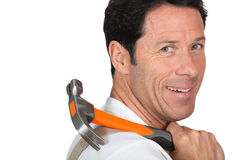 Man carrying hammer Stock Photography