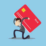 Man carrying heavy credit card debt financial management trouble burden. Vector Royalty Free Stock Photo