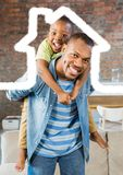 Man carrying his son on his shoulder against house outline in background. Digital composition of men carrying his son on his shoulder against house outline in Royalty Free Stock Images