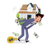 Man carrying home with money. loan from house. concept of mortga Stock Image