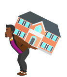 Man carrying house. Royalty Free Stock Photos