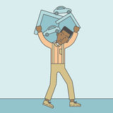 Man carrying house and car royalty free illustration