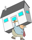 Man Carrying A House On His Back Royalty Free Stock Images