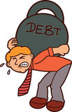 Man Carrying Huge Weights of Debt Cartoon. Illustration Stock Images