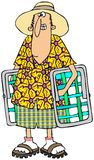 Man carrying lawn chairs. This illustration depicts a man in summer attire carrying lawn chairs Stock Photography