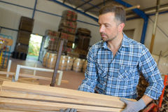 Man carrying lengths wood royalty free stock photos