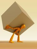 Man carrying the load. 3d rendering the symbolic man with load royalty free illustration