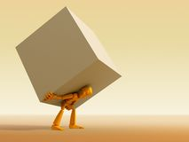 Man carrying the load. 3d rendering the symbolic man with load vector illustration