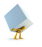 Man carrying the load. 3d rendering the symbolic man with load stock illustration