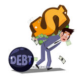 Man carrying money symbol on his back. Money slave concept - vec Royalty Free Stock Photography