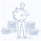 Man carrying piggy bank. Royalty Free Stock Photo