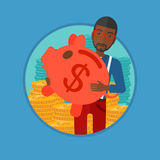 Man carrying piggy bank vector illustration. Stock Photos