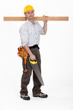 Man carrying plank of wood Stock Photography