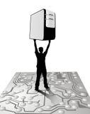 Man carrying server Royalty Free Stock Photos