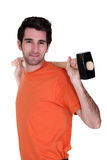 Man carrying sledge-hammer Royalty Free Stock Photo