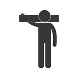 Man carrying tool work figure pictogram Stock Photo