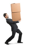 Man carrying two boxes Stock Photos