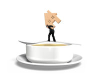 Man carrying wooden house balancing on spoon with soup bowl Royalty Free Stock Photos