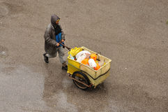 Man with cart in Fez, Morocco Royalty Free Stock Images