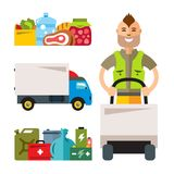 Vector Delivery service. Flat style colorful Cartoon illustration. Man with cart, food, truck, supplies. Isolated on a white background Royalty Free Stock Photo