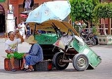 Man with cart in the Jamaâna el-Fna square in Marrakech. Marrakesh Morocco Jamaa el Fna in Arabic: ساحة جامع الفناء jâmi`-fanâ`, or even Jemaa Royalty Free Stock Photo