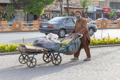 A man with a cart, in Shiraz, Iran Royalty Free Stock Photo