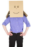 Man with carton box instead of head Royalty Free Stock Photos