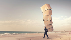 Man with carton boxes Royalty Free Stock Photography