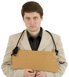 Man and carton tablet Stock Photography