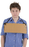 Man with carton tablet Stock Photo