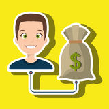Man cartoon bag money dollar Stock Photos