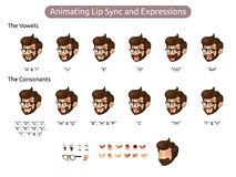 Man Cartoon Character for Animating Lip Sync and Expressions vector illustration