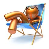 Man cartoon character relaxing beach deck chair harmony Stock Photos