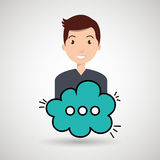 Man cartoon cloud speack chat. Man cartoon cloud blue speack chat  illustration eps 10 Royalty Free Stock Images