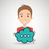 Man cartoon cloud speack chat Royalty Free Stock Photos