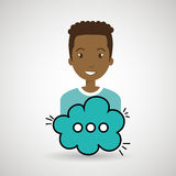 Man cartoon cloud speack chat Royalty Free Stock Image