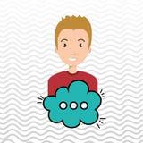 Man cartoon cloud speack chat. Man cartoon cloud blue speack chat  illustration eps 10 Royalty Free Stock Photography